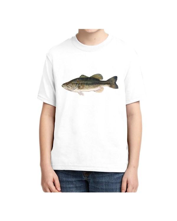 Kids Large Mouth Bass T-shirt 5.6 oz., 50/50 Heavyweight Blend White T-shirt