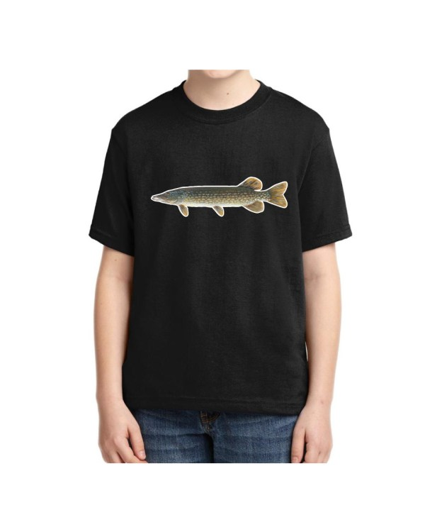 Kids Northern Pike Black T-shirt 5.6 oz., 50/50 Heavyweight Blend