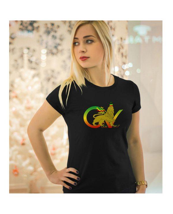 Good Vibes™ Rasta Lion Flag 5.6 oz., 50/50 Heavyweight Blended Black T-Shirt