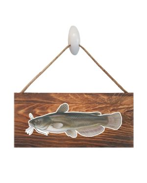 "Good Vibes™ Bullhead Dark Wood Sign. Size: 12"" W x 5.5"" H - With Rope 11"" H -.30 Thick"