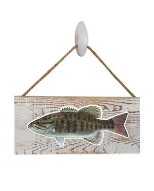 "Good Vibes™ Small Mouth Bass WhiteWood Sign. Size: 12"" W x 5.5"" H - With Rope 11"" H -.30 Thick"