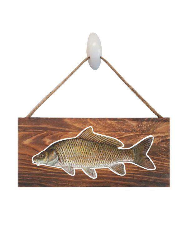 "Good Vibes™ Carp Dark Wood Sign. Size: 12"" W x 5.5"" H - With Rope 11"" H -.30 Thick"