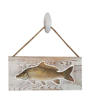 "Good Vibes™ Carp White Wood Sign. Size: 12"" W x 5.5"" H - With Rope 11"" H -.30 Thick"