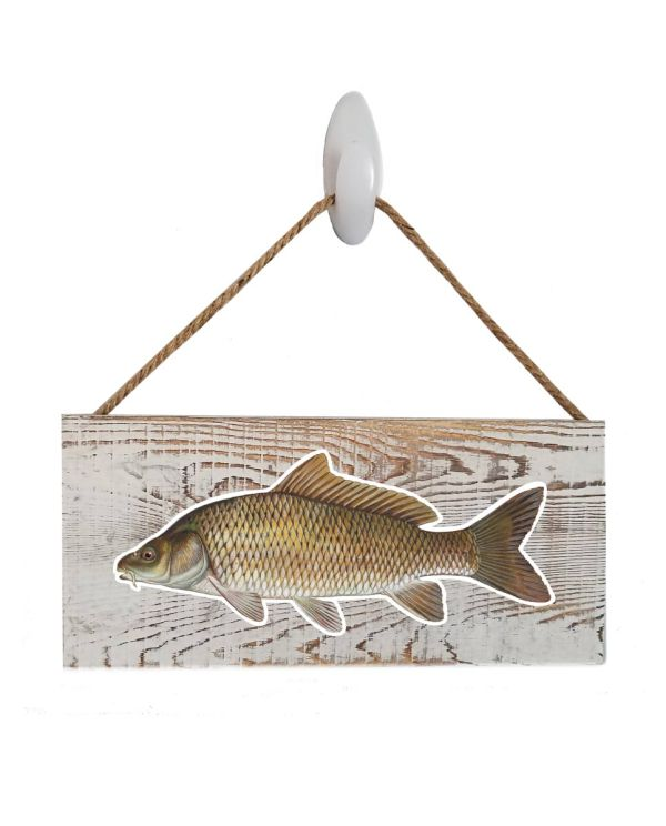 """Good Vibes™ Carp White Wood Sign. Size: 12"""" W x 5.5"""" H - With Rope 11"""" H -.30 Thick"""