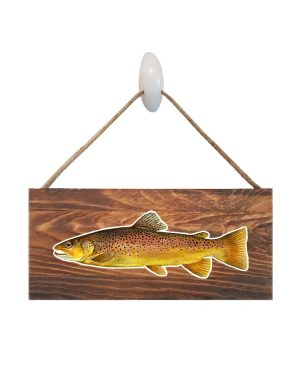 "Good Vibes™ Brown Trout Dark Wood Sign. Size: 12"" W x 5.5"" H - With Rope 11"" H -.30 Thick"