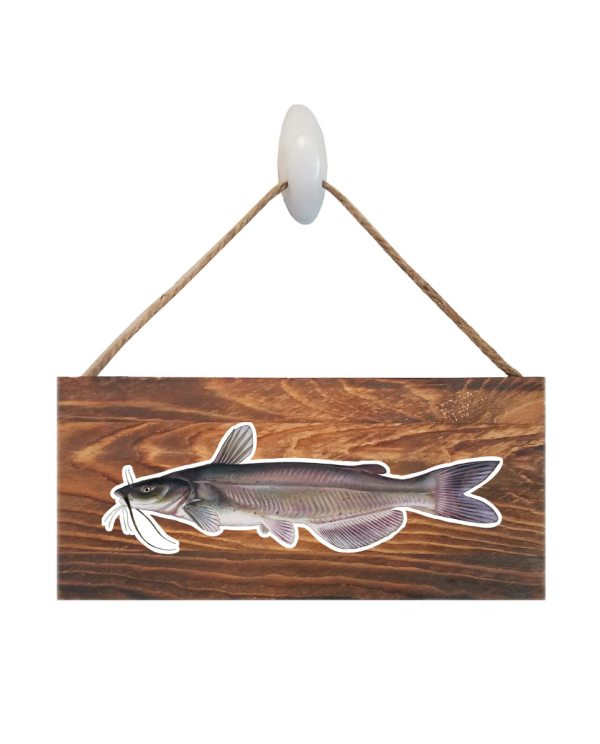 """Catfish Dark Wood Sign. Size: 12"""" W x 5.5"""" H - With Rope 11"""" H -.30 Thick"""