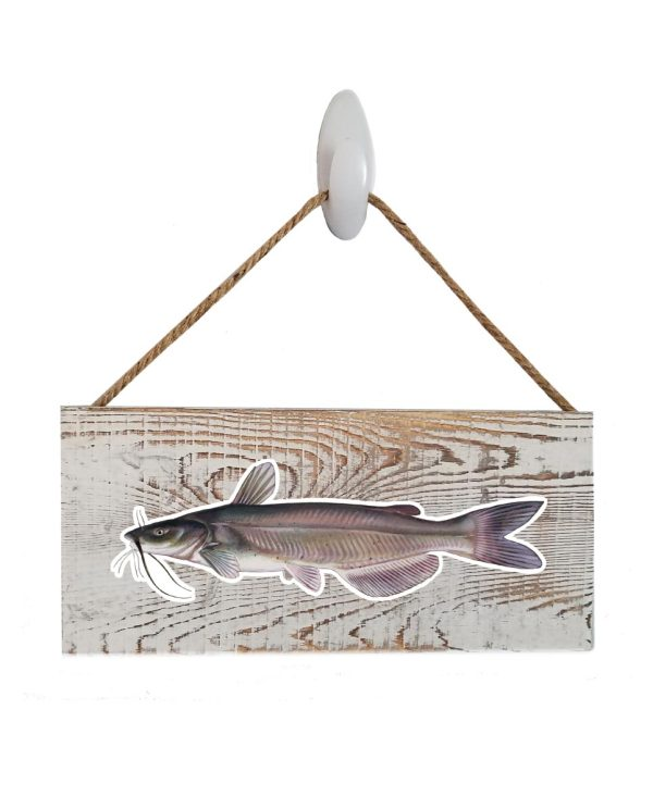 """Catfish White Wash Wood Sign. Size: 12"""" W x 5.5"""" H - With Rope 11"""" H -.30 Thick"""