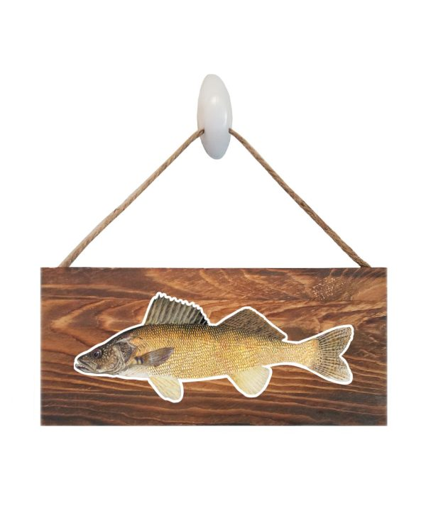 """Good Vibes™ Walleye Dark Wood Sign. Size: 12"""" W x 5.5"""" H - With Rope 11"""" H -.30 Thick"""