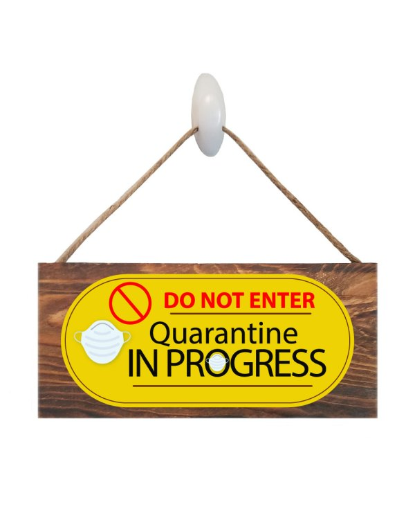 "Quarantine Face Mask Wood Sign Size: 12"" W x 5.5"" H - With Rope 11"" H -.30 Thick"