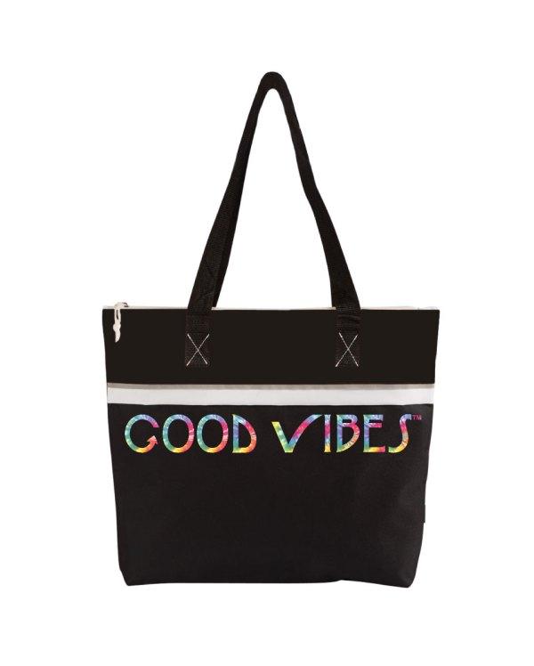 Good Vibes Tie Dye Black Tote Bag