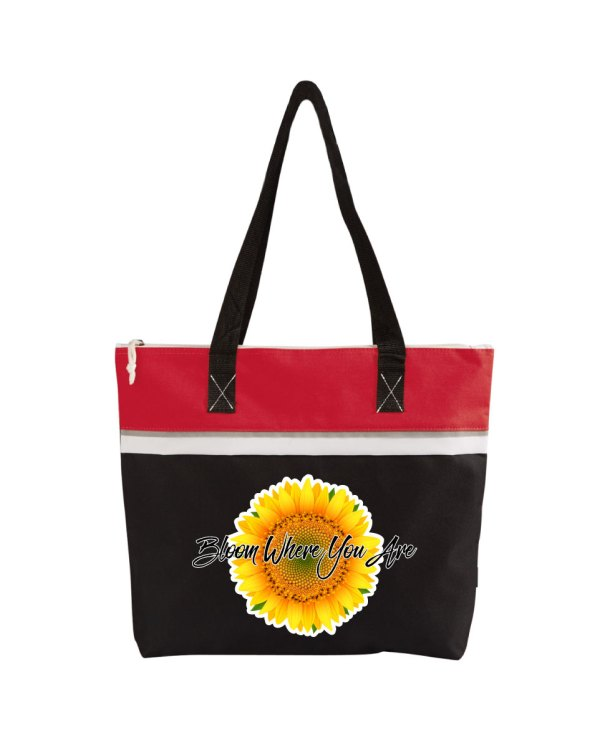 Bloom Where You Are Red Tote Bag
