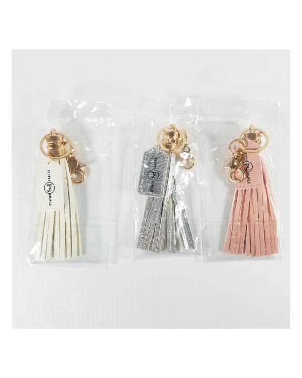 Keychains with Tassels Pink, White, Silver