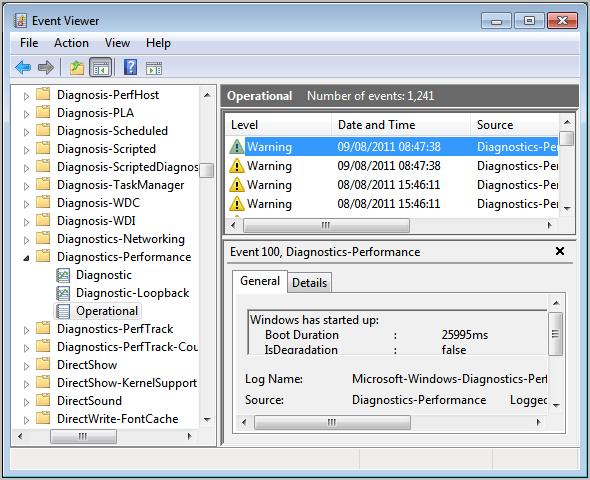 Event Viewer Windows 7 Diagnostics