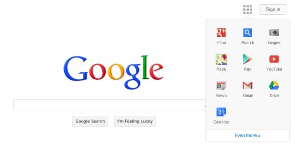 google homepage navigation screenshot