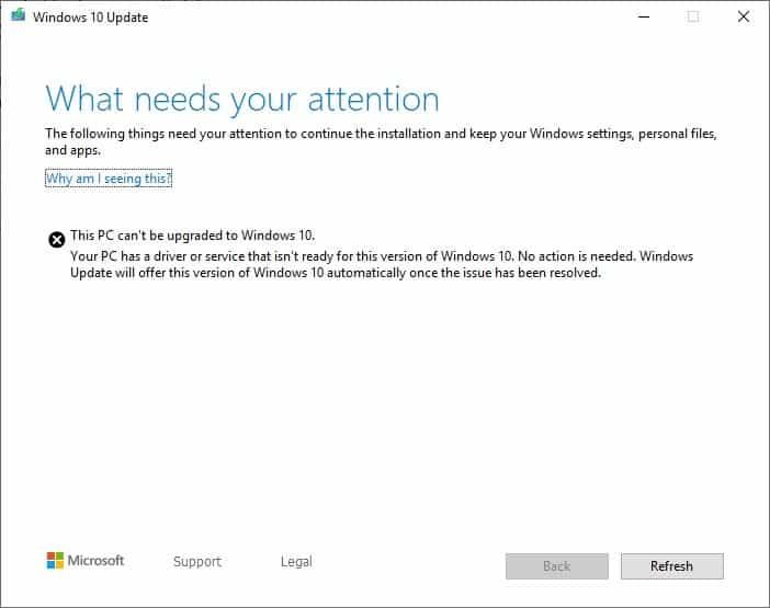 News windows 10 needs your attention can't be upgraded