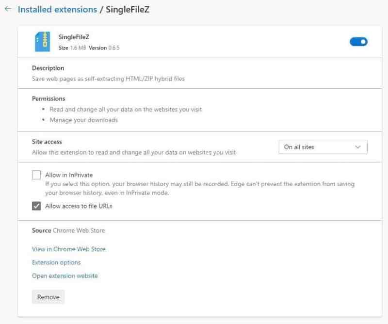 Requisiti dell'estensione di Chrome SingleFileZ 2