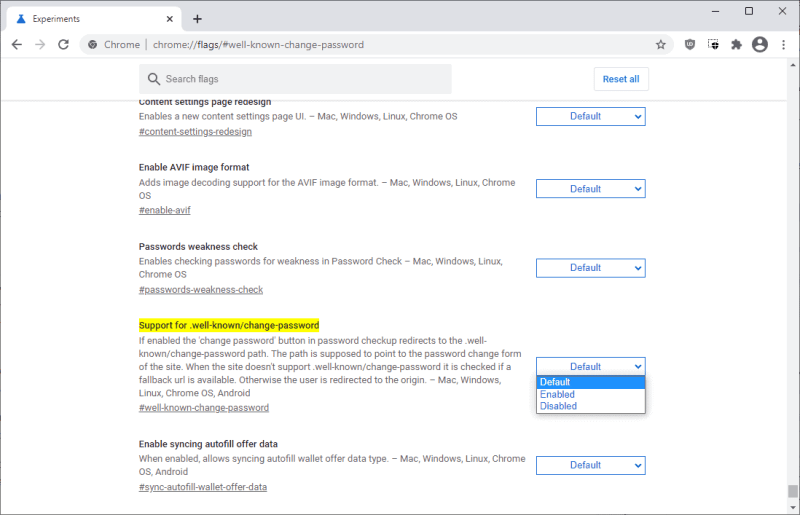 password ben nota di Chrome