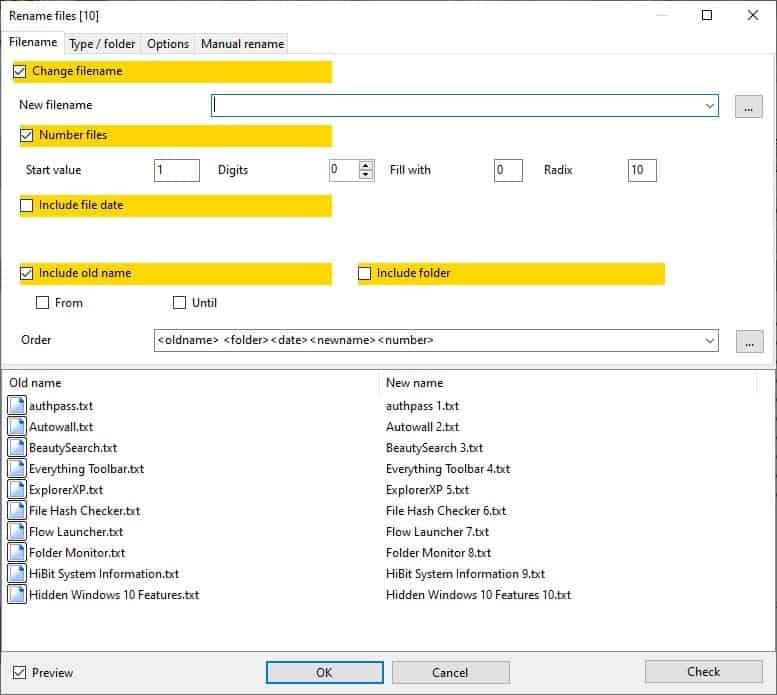 Archiver alternativo: rinomina i file in batch 2