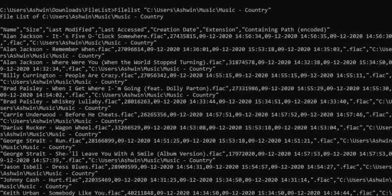 FileList è uno strumento della riga di comando che consente di esportare il contenuto di una cartella in un documento CSV