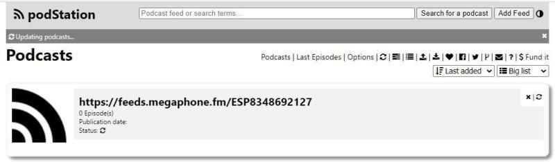 Podstation aggiunge un feed RSS 2