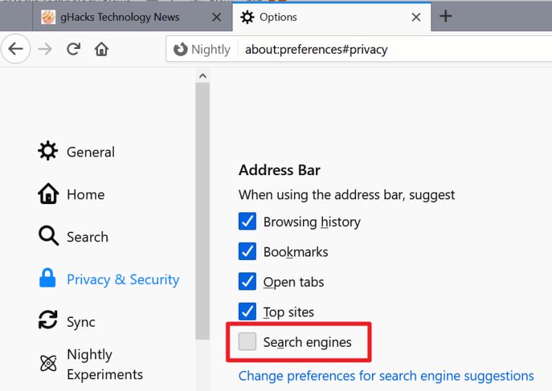 Firefox disabilita la scheda per la ricerca