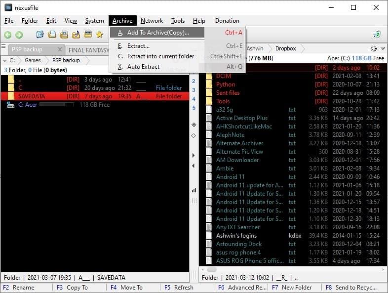 Archiver NexusFile