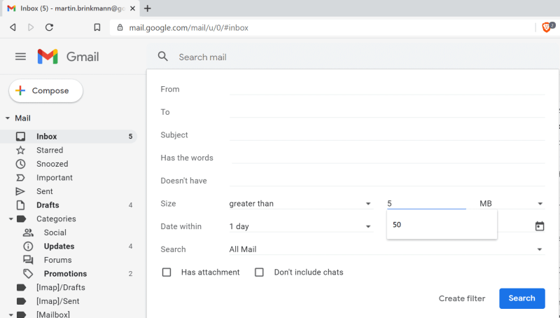filtri di ricerca Gmail