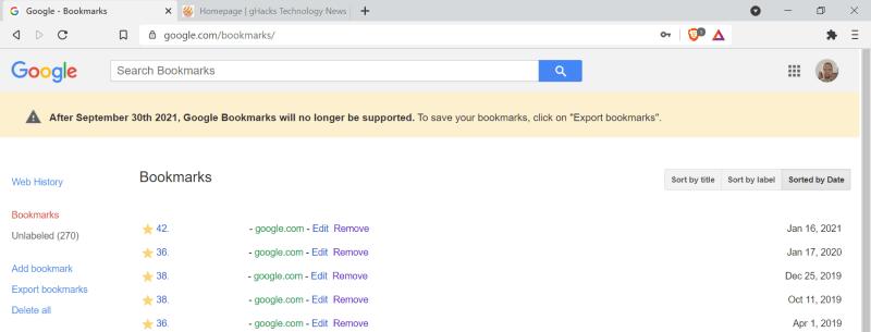 google bookmarks fine del supporto