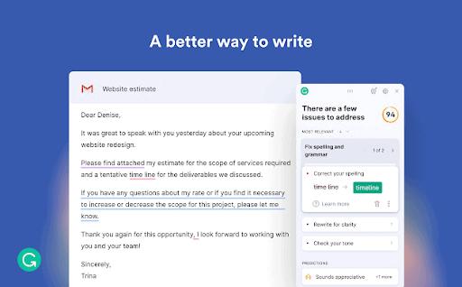 L'estensione Grammarly per i browser Chrome offre suggerimenti per migliorare la tua scrittura.