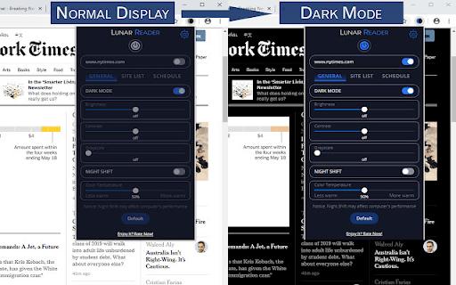 6. Lo screenshot ufficiale di Lunar Reader che confronta una pagina con e senza l'estensione abilitata