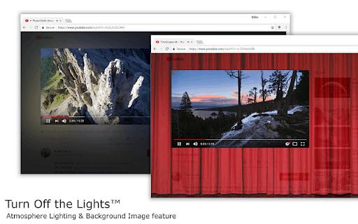 8. Uno screenshot delle funzioni di attenuazione e sfondo per Spegni le luci