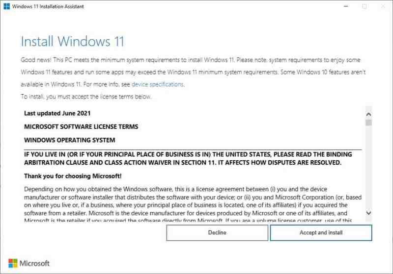 Assistente all'installazione di Windows 11