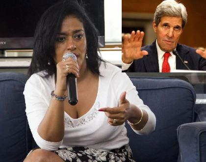 Former US presidential candidate John Kerry zips his mouth as Esther Passaris gives him a lecture