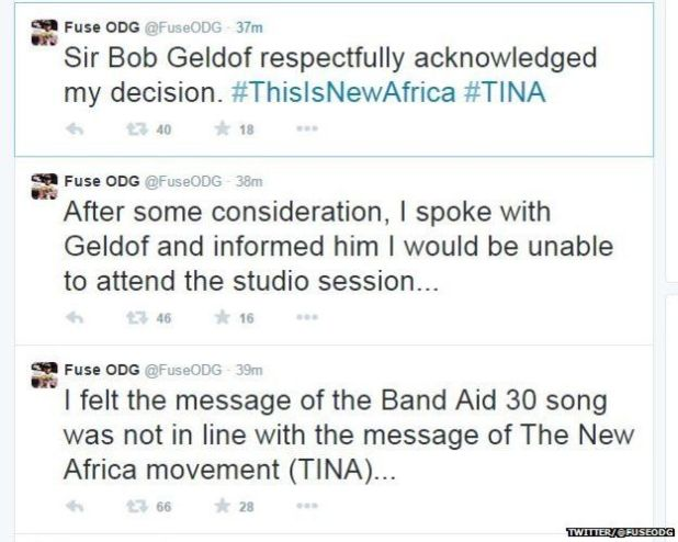 Do They Know Its Christmas Lyrics.Fuse Odg Refuses To Join Bob Geldof S Ebola Victims Song Do