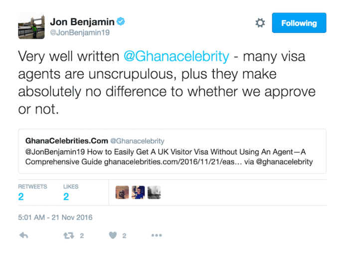 UK High Commissioner to Ghana-Jon Benjamin's comment on this article