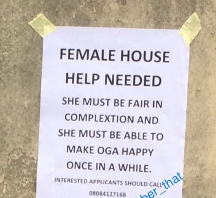 5c928a155c87e opt - 'She Must Be Able To Satisfy Oga Once In A While'-This Ad Seeking For A House Help Would Leave You Laughing For Days