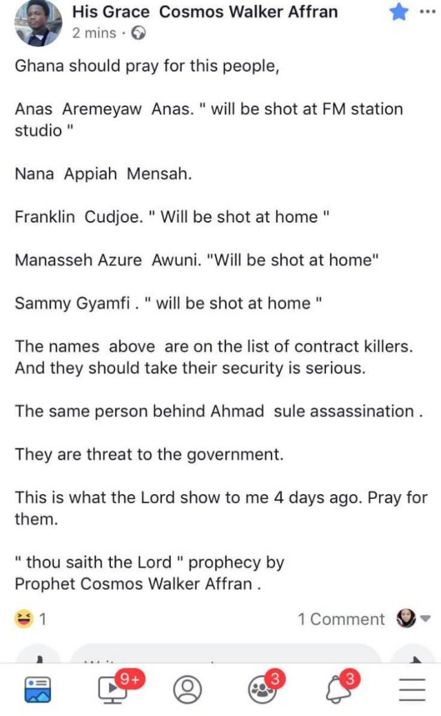 77FF2451 BD71 44C1 9EEC C7B7D906F26C - Anas, Manasseh Azure, Franklin Cudjoe and Others Next to Be Assassinated by Ahmed Suale's Killers — Claims Prophet of 'Doom' Cosmos Walker