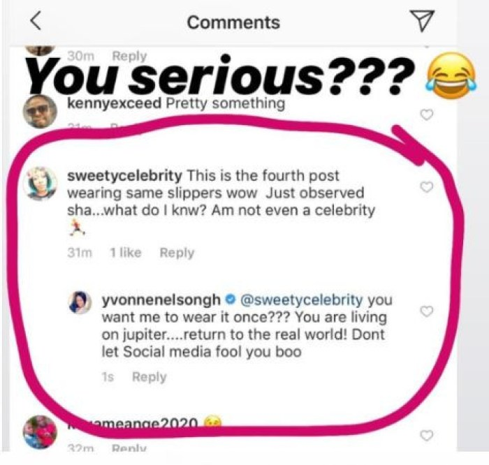 5cab774004fb3 - Check Out Yvonne Nelson's Response To A Fan Who Asks Why She Has Rocked One Particular Slippers Four Times