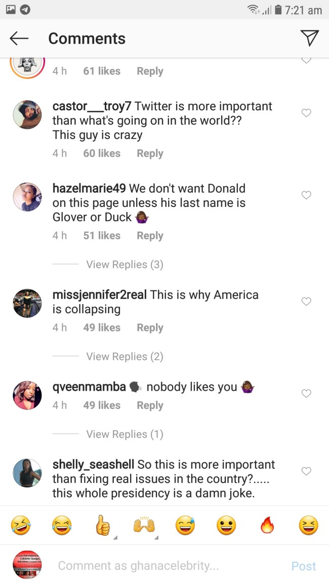 Screenshot 20190425 072106 GBInsta - SCREENSHOTS: Instagram Users Blast Donald Trump For Reportedly Inviting The CEO Of Twitter To Discuss On Why He Keeps Losing Followers — Check