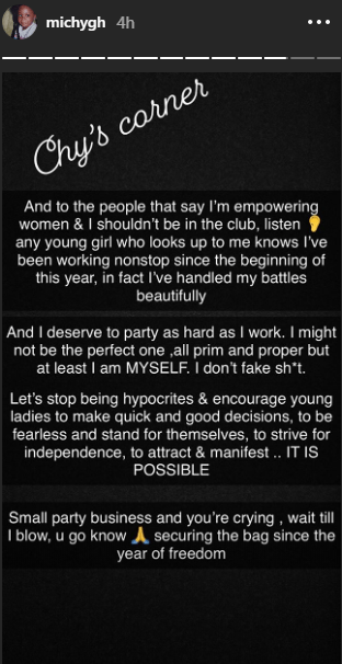 Michy hits back screenshot - SCREENSHOT: Michy Hits Back At Those Criticizing Her For Organizing A Birth Party In The Night Club — SEE
