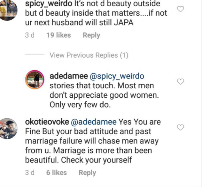 Screenshot 2019 05 09 at 18.22.46 - You Are Beautiful But If You Don't Take Care Your Next Husband Would Still Leave- A Fan To The Ex-Wife Of Chris Attoh, Damilola