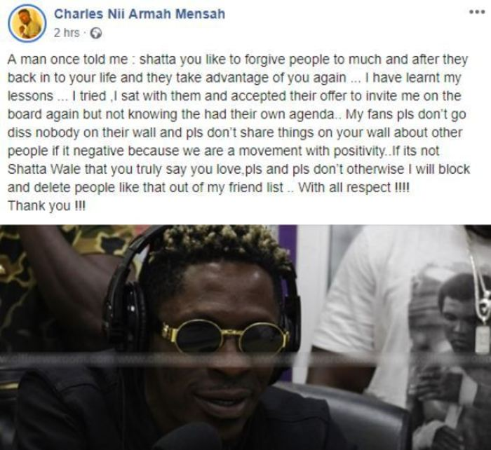 Shatta Wale - Shatta Wale Turns A New Leaf – Warns SM Fans Not To Diss Stonebwoy Again