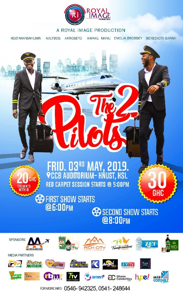 WhatsApp Image 2019 05 02 at 13.05.26 - After Successful Accra Premiere, 'Two Pilots' Movie Featuring Kalybos and Lilwin Premieres Friday 3rd May at the CCB Auditorium in Kumasi
