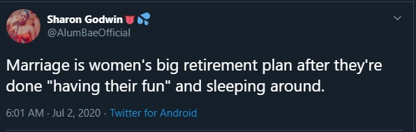 Marriage Is Ladies Retirement Package After Having Fun