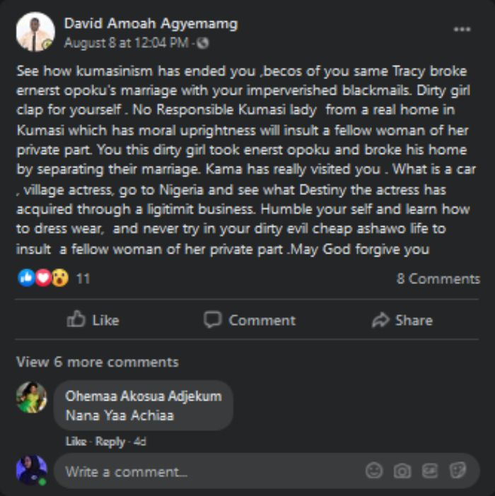Screenshot 2020 08 27 20 David Amoah Agyemamg Facebook - Tracey Boakye Accused Of Breaking Ernest Opoku's Marriage