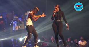 Shatta Wale kisses Wendy Shay's butt on stage (Reign Concert)