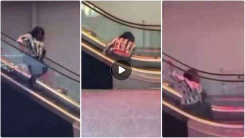 Video Of How A Lady Embarrassed Herself While Using Mall Escalator
