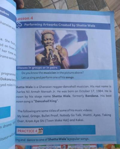 Dancehall Act Shatta Wale Featured In GES Approved Creative Arts Text Book for Primary 4