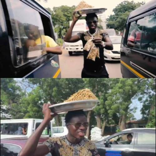 You Will Love American Comedian Michael Blackson Selling Groundnut - Watch Video