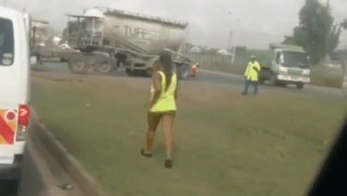 Bootylicious Fine Lady Seen Walking On A Highway Naked - Video Below